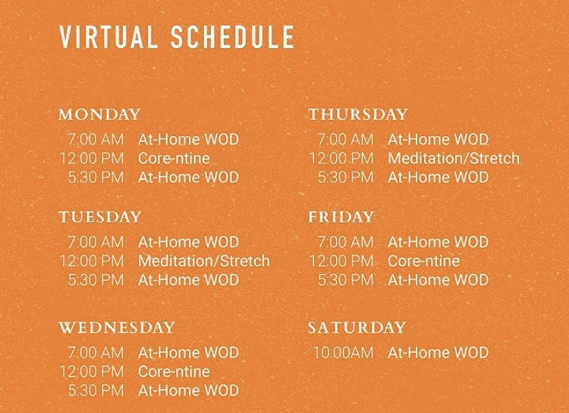 Image showing The Foundry's schedule of daily virtual workout classes